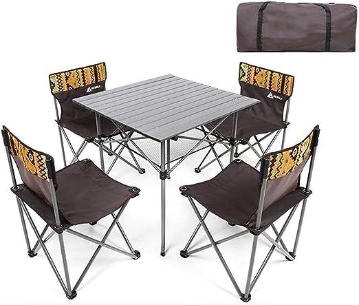 GBY, Inc. Juego de Mesa y Silla Plegable. 4 sillas Conjunto ...
