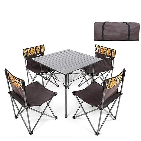 AJZGF Juego de Mesa y Silla Plegable. 4 sillas Conjunto ...