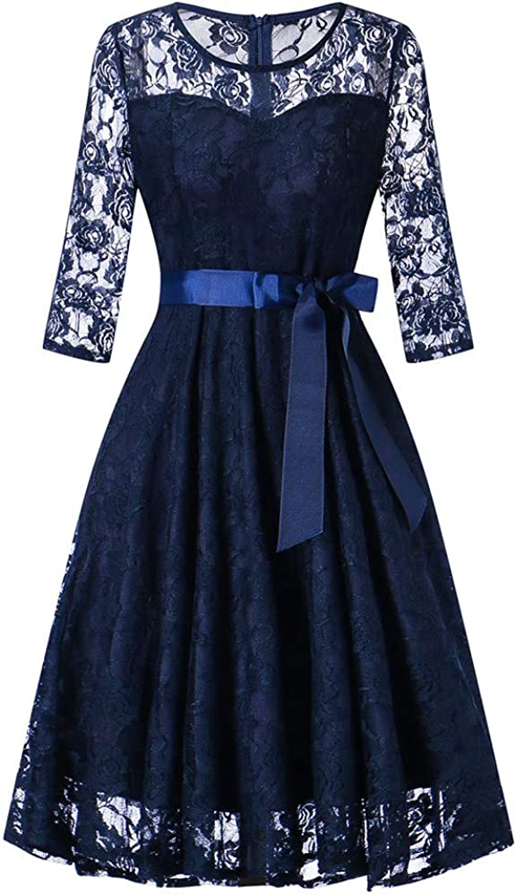 Prom Dresses for Women,Womens Long Sleeve Formal Ladies Wedding Bridesmaid Lace Long Dress