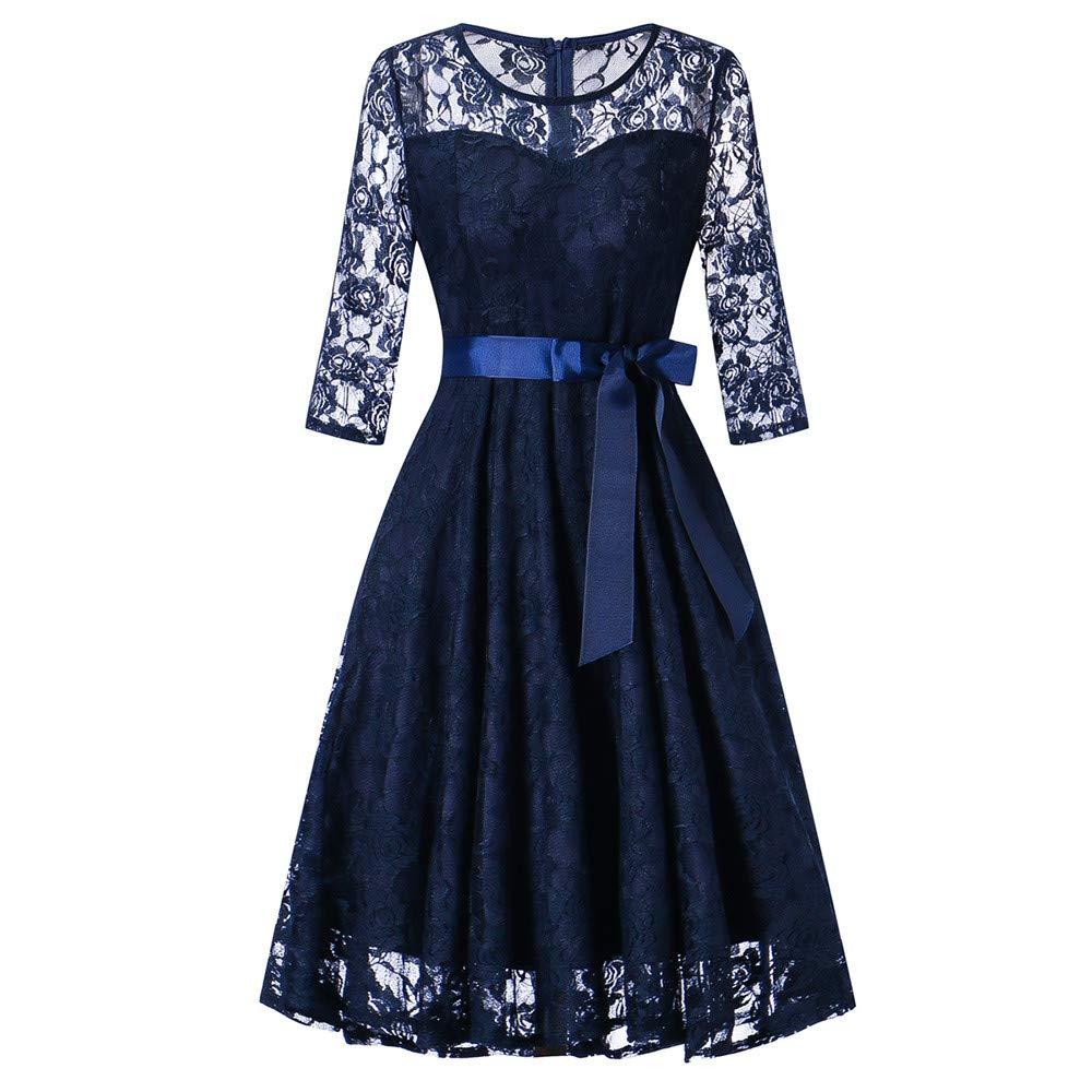 JESPER Womens Long Sleeve Formal Ladies Wedding Bridesmaid Lace Long Dress US 8/10 Blue