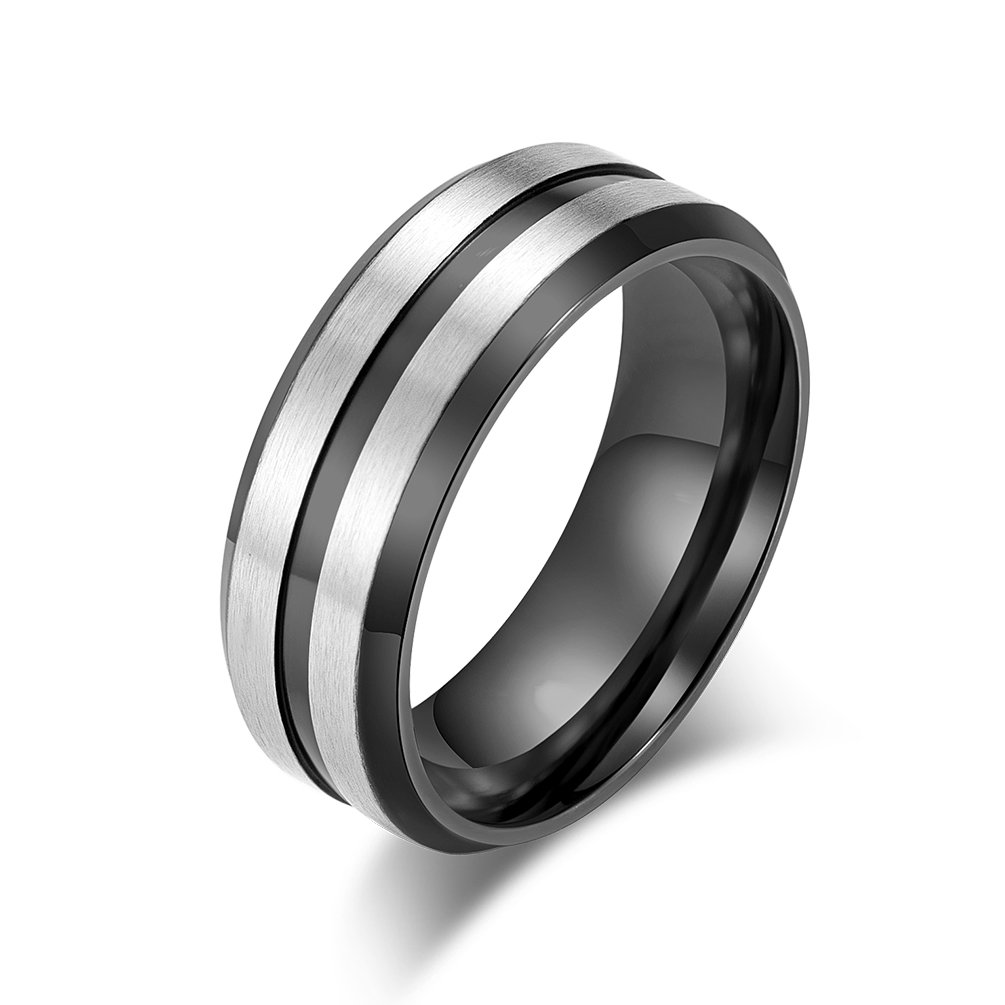 Excow Jewelry Fashion Rings Titanium Steel 8MM Wide Double Groove Ring