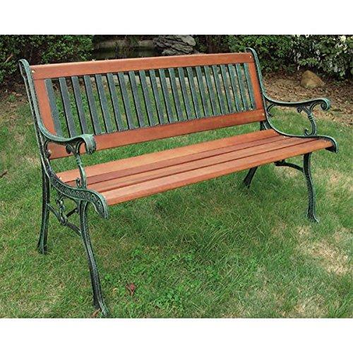 鋳鉄ストライプベンチ[幅126cm、奥行き67cm、高さ80cm ガーデンベンチ] ノーブランド品 B07BBWHKL6