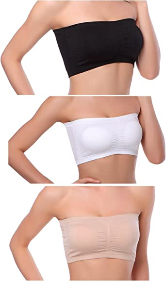 Ruhakslen Tube Tops for Women Strapless Bandeau Bra Stretchy Seamless Padded Bras