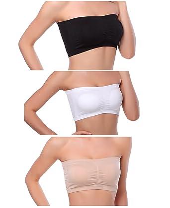 263110319b Venbond 3-4Packs Women s Seamless Bandeau Crop Tube Top Bra Strapless  Padded Brarette (XS
