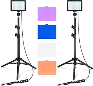 LED Video Light 11 Brightness and 4 Color Filters Dimmable Photography Continuous Table Top Lighting, Adjustable Tripod Stand, USB Portable Fill Light for Photo Studio Shooting