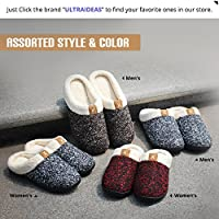 Men's Comfort Memory Foam Slippers Wool-Like Plush Fleece Lined House Shoes w/ Indoor, Outdoor Anti-Skid Rubber Sole