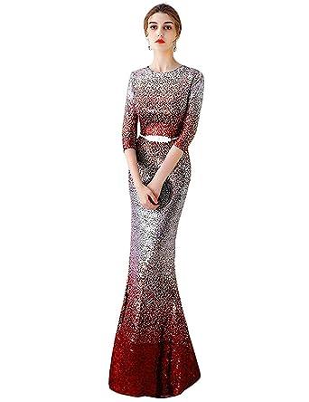 YSMei Women\'s Gradient Sequin Evening Prom Dresses Long Mermaid ...
