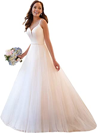 Loveonly Women S A Line Ball Gown Wedding Dresses For Bride Soft Net Pleated Bodice Simple Beach Bridal Gowns At Amazon Women S Clothing Store
