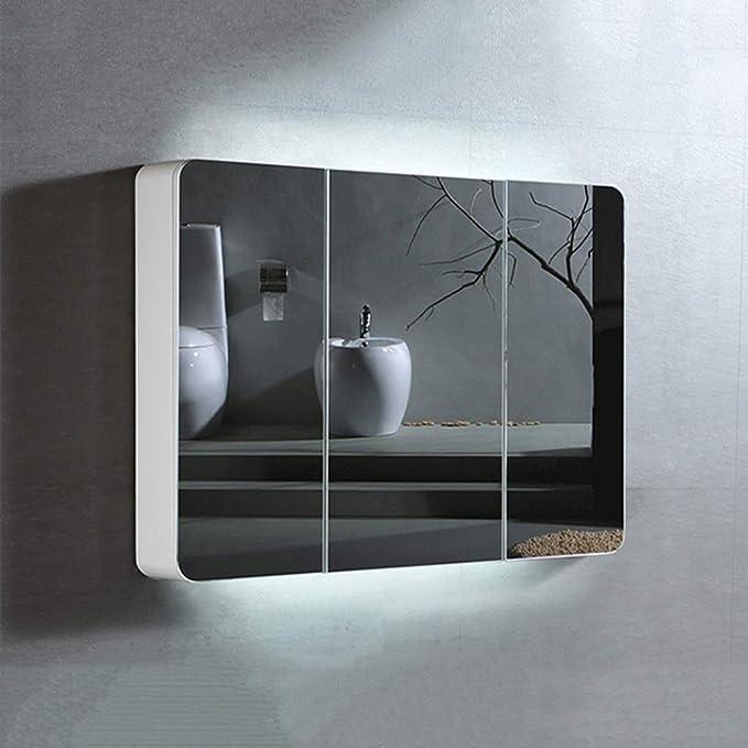 ZQG De Madera Maciza de Pintura Cuarto de baño WC Espejo ...