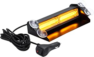 Aluminum Amber LED Warning Strobe Dash Lights for Cars Trucks SUV POV with Suction Cups, WOWTOU 16W 9 Flash Patterns Vehicle Interior Front Windshield Rear Window Deck Emergency Safety Lighting