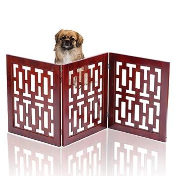 Pets Pet Gate Folding 3 Part Wooden Pet Dog Puppies Cats Kitten Gate Safety