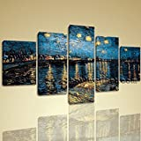 Starry Night Over The Rhone By Vincent Van Gogh Giclee Print Repro On Canvas Extra Large Wall Art, Gallery Wrapped, by Bo Yi Gallery 54''x32''