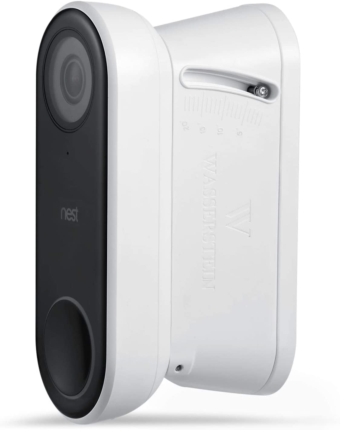 Wasserstein 0° t-20°Vertical Wall Mount Kit Compatible with Nest Hello Video Doorbell (White, 1-Pack)