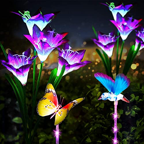 Neporal Garden-Solar-Lights-Outdoor-Decorative-Waterproof, 3 Pack Butterfly, Hummingbird, Lily Solar Flower Lights, Multi-Color Changing Garden Lights Solar Powered, Solar Stake Lights for Yard Patio