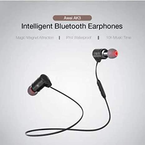 Magnetic Switch Wireless Sports Earphone - Black