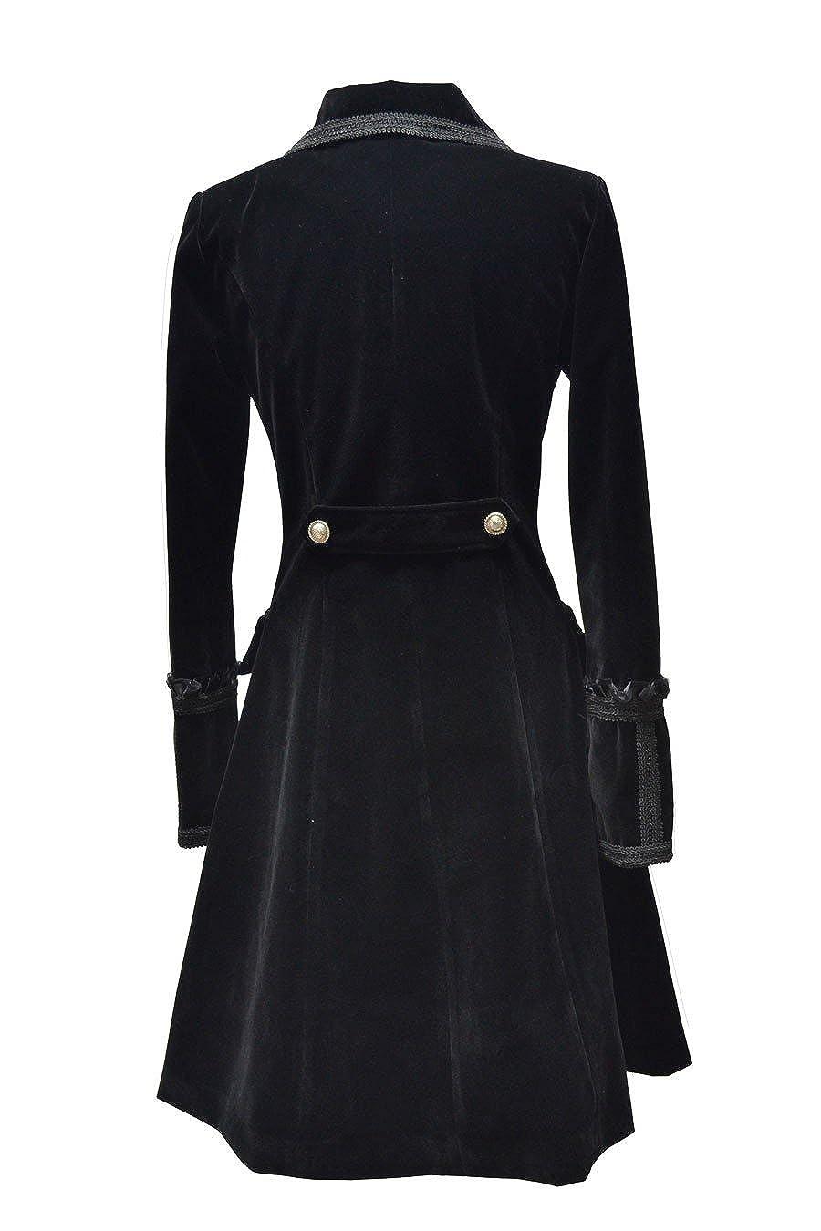 Pentagramme Manteaux Femme Velours Noir Gothique pour Femme Noir