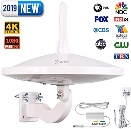 Fit for Outdoor//RV//Attic Use ANTOP AT-415B 720/° UFO Dual Omni-Directional Outdoor HDTV Antenna with Exclusive Smartpass Amplifier /&4G LTE Filter 33ft Coaxial Cable,4K UHD Ready Upgraded Version