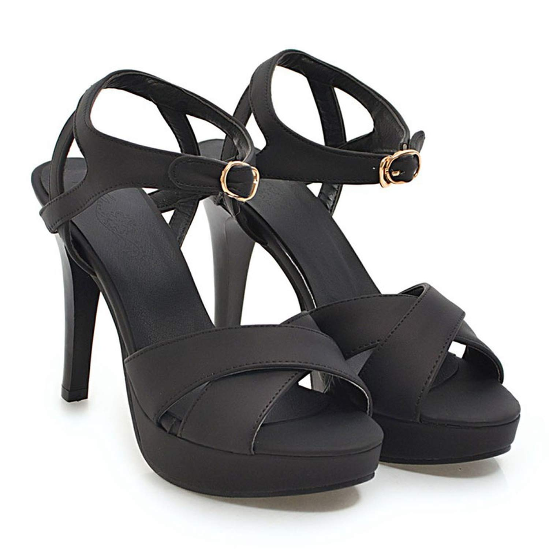 Black Summer Sandals Women Sandalia Elegant Stiletto Heels Peep Toe Party shoes