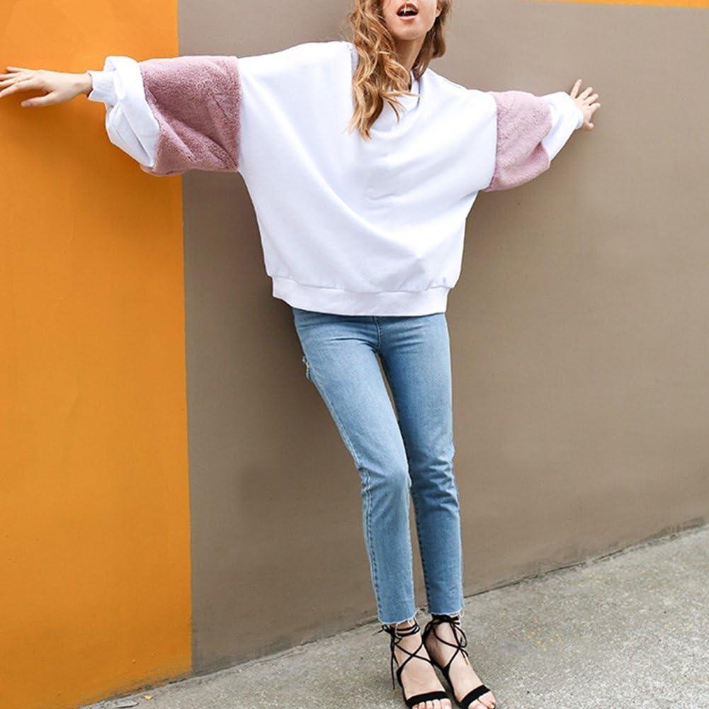 Women Swearshirt Pullovers Long Sleeve Crewneck Fur Sleeve Hoodie Jumper Casual Loose Patchwork Top Sweaters