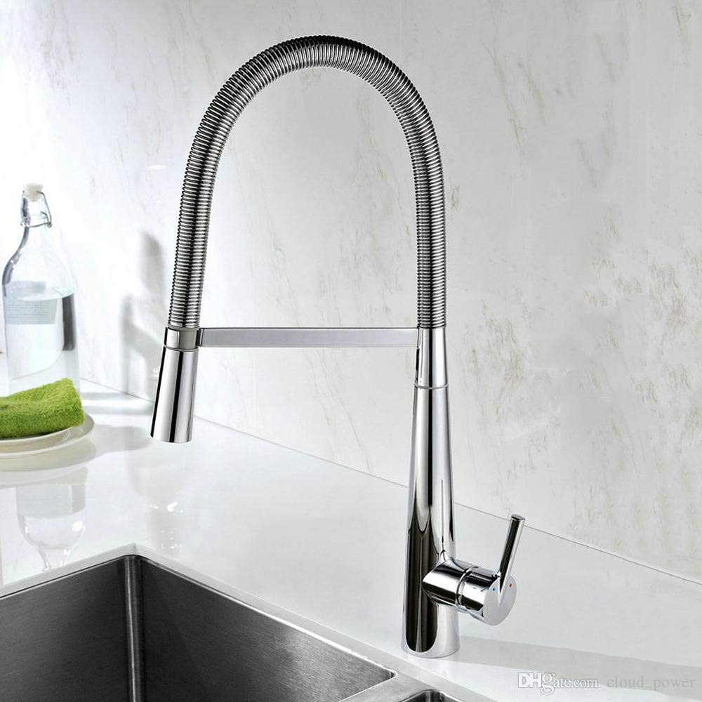 Decorry Chrome Kitchen Sink Faucet Deck Mounted Shifted Brass Kitchen Basin Mixer Taps with Single Handle