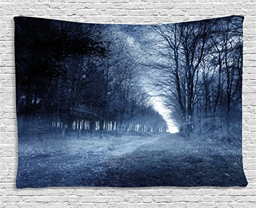 College Ideas For Halloween (Halloween Tapestry by Ambesonne, Ghostly Haunted Forest Image Bleak Gloomy Misty Nature Landscape, Wall Hanging for Bedroom Living Room Dorm, 80 W X 60 L Inches, White Black Light Blue)