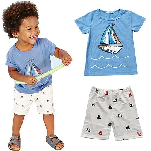 a14f23fa05893 Amazon.com: UNIQUEONE 2Pcs Baby Boys Summer Cute Sailboat Print T-Shirt  Tops+Shorts Outfits: Clothing
