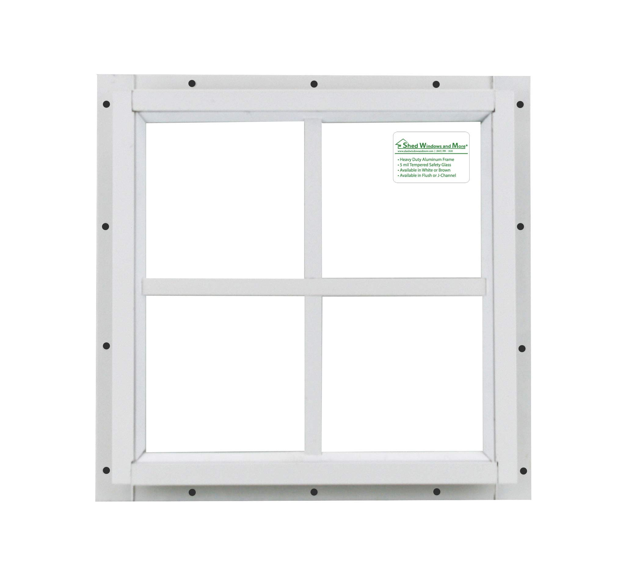 Shed Small Square Window 12'' x 12'' White J-Channel w/Safety Glass
