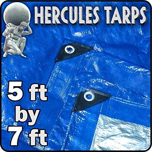 5' x 7' - Tent Shelter Tarp Cover Waterproof Tarpaulin Plastic Tarp Protection Sheet for Contractors, Campers, Painters,