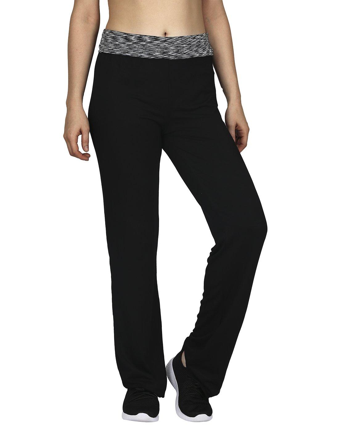HDE Women's Maternity Yoga Pants Comfortable Lounge Pregnancy Pants Folded Waist,Black Grey Space Dye,XX-Large