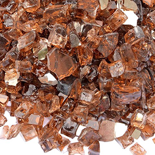 Onlyfire Reflective Fire Glass for Natural or Propane Fire Pit, Fireplace, or Gas Log Sets, 10-Pound, 1/2-Inch, Copper (2 Glass Fire Reflective 1)
