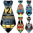 "Original Stick'Nsnap (TM) 17 Baby Monthly Necktie Onesie Stickers - ""Happy Heroes"" (TM) Milestones for 12 Months + for a limited time, 5 Bonus Milestones - Great Baby Shower Gift!"
