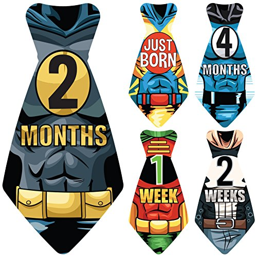 Original Stick'Nsnap (TM) 17 Baby Monthly Necktie Onesie Stickers - 'Happy Heroes' (TM) Milestones for 12 Months +5 Bonus Milestones - Great Baby Shower Gift!