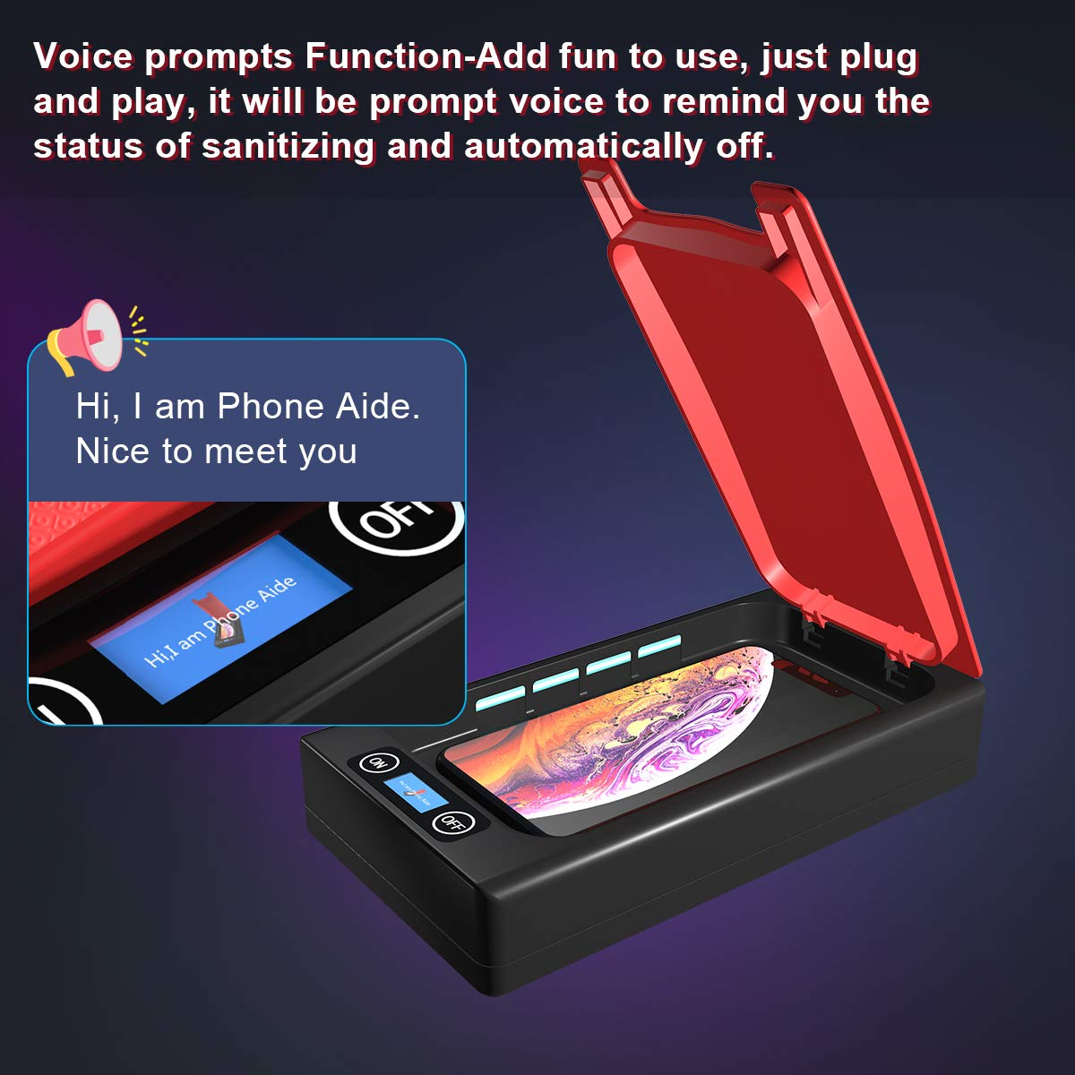 SOELAND Phone Aide Portable Smartphone Sterlizer Cleaner Case with Voice Prompt Function Cell Phone Disinfection for iPhone Android Mobile Phone Toothbrush Watches Jewelry UV Phone Sanitizer
