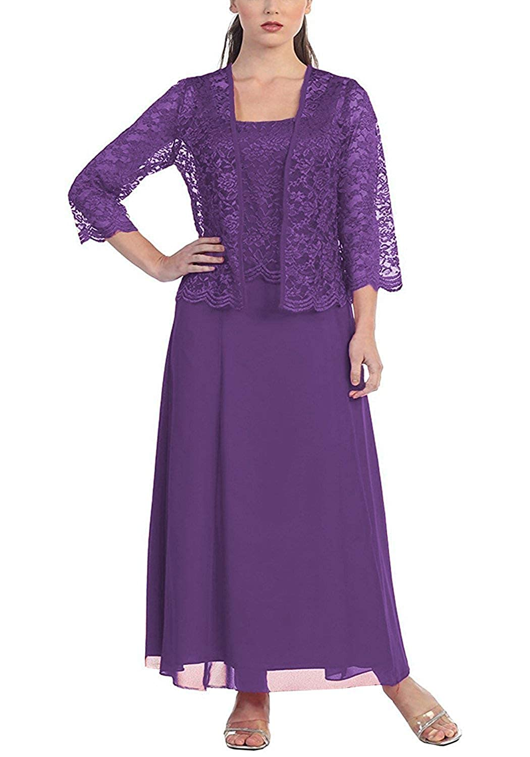 Purple Mother of The Bride Dresses with Jackets Formal Evening Gowns Long Sleeves Lace Mother Dress