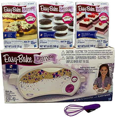 Easy Bake Oven Easy Bake Ultimate Oven Baking Bundle Baking Star Edition + Larger Size 13.8 Oz. Easy Bake 3-Pack Refill Mixes (Pizza, Whoopie Pies and Red Velvet & Strawberry Cakes) + Mini Whisk