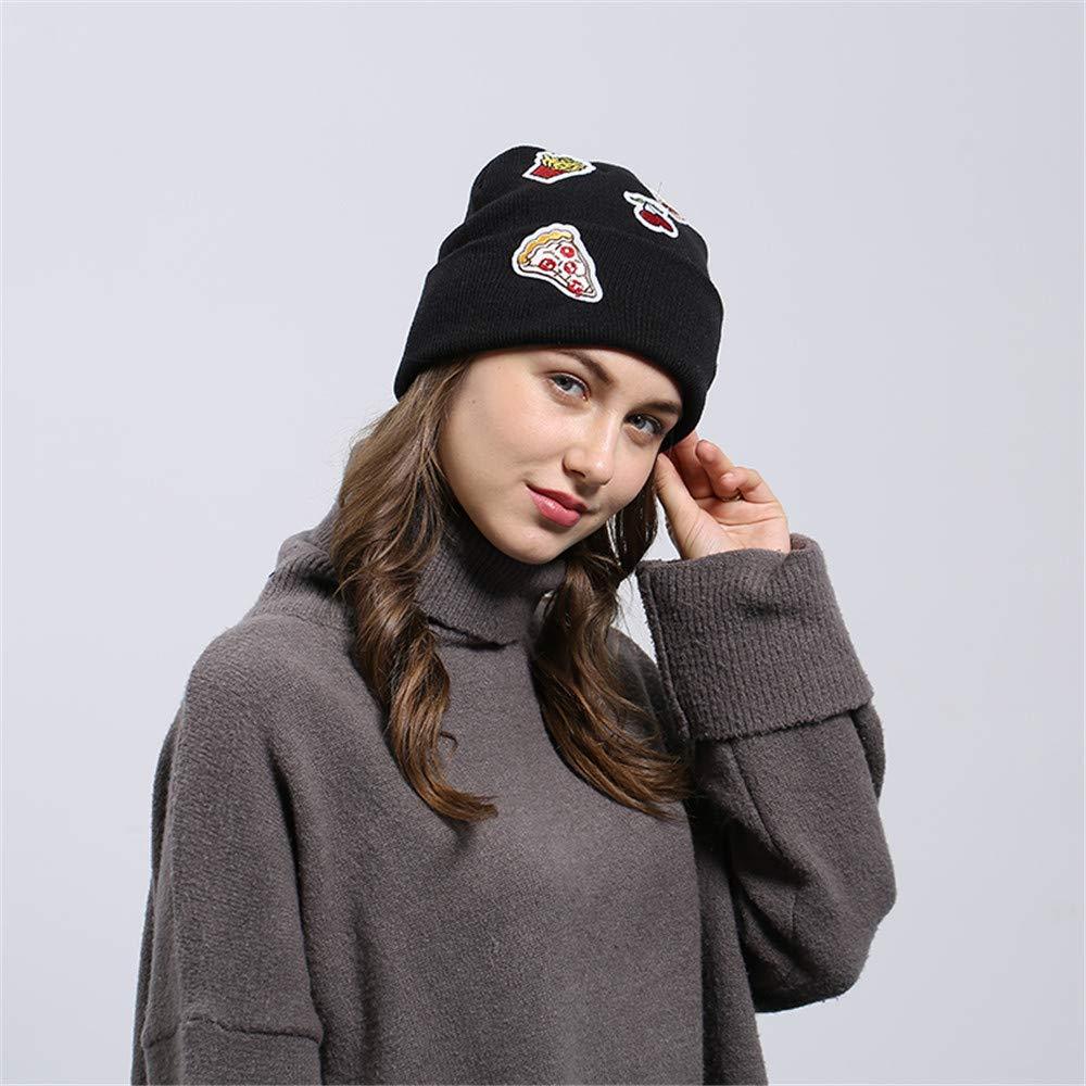 Cinhent Hat Men Women Novelty Ice Cream Patch Baggy Wool Knit Ski Beanie Caps