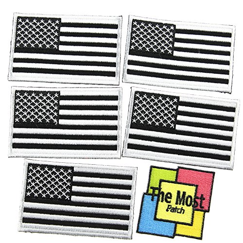 Lot of 6 (5+1) USA Flag American Logo Sign Embroidered Iron/Sew On - Hardcore Bold