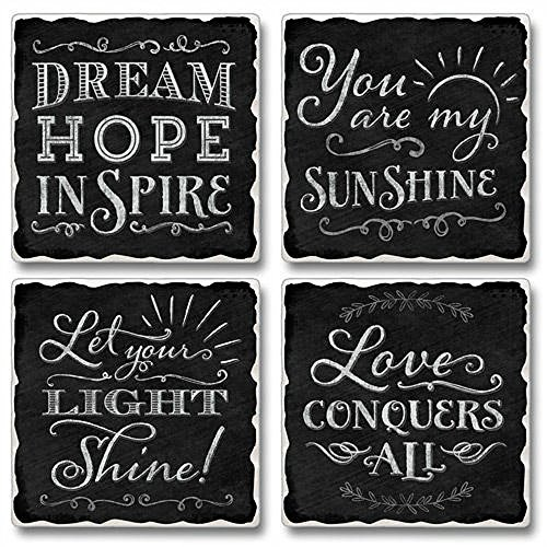 Love Conquers All Highland Graphics Tumbled Tile Coasters set of - Highland Village Stores