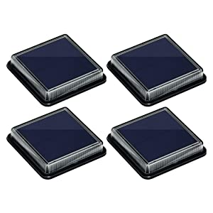 Solar Deck Lights, Ground Driveway Walkway Dock Light Solar Powered Outdoor Stair Step Pathway LED Lamp for Backyard Patio Garden, auto On/Off - Warm White - Square - 4 Pack