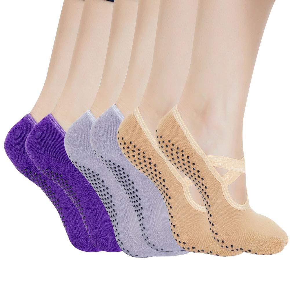 Yoga Socks for Women Non Skid Socks with Grips Barre Socks Pilates Socks for Women by QING