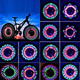 TGJOR Bike Wheel Lights, LED Waterproof Bicycle Spoke Light 32-LED 32pcs Changes Patterns Bicycle Rim Lights Mountain Bike/Road Bikes/BMX Bike/Hybrid Bike/Folding Bike