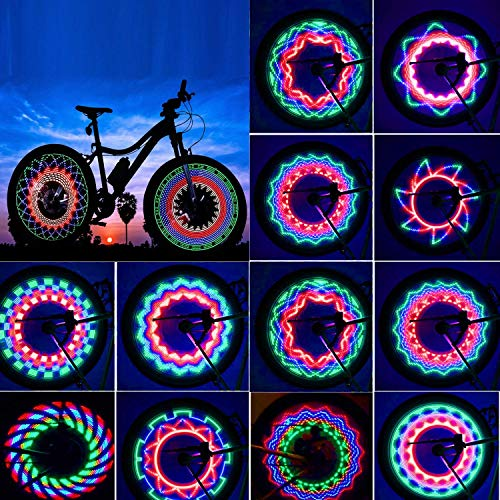 TGJOR Bike Wheel Lights, LED Waterproof Bicycle Spoke Tire Light with 32-LED and 32pcs Changes Patterns Bicycle Rim Lights for Mountain Bike/Road Bikes/BMX Bike/Hybrid Bike/Folding Bike