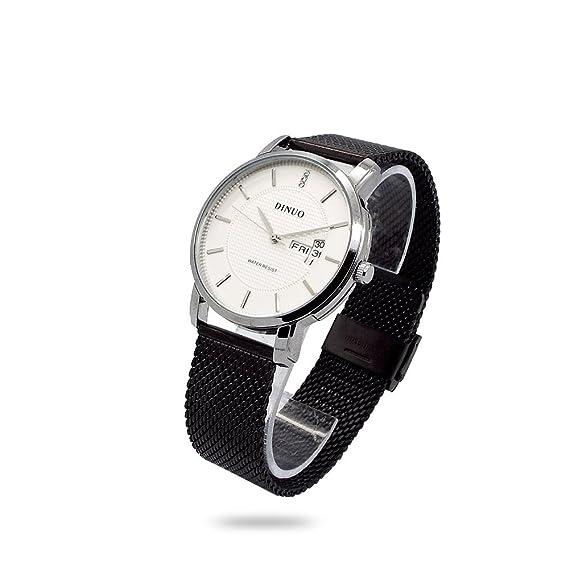 Reloj de pulsera hombre Dinuo caja metal bisel Fecha Correa Camiseta Milano Negro esfera blanco analógica