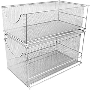 Sorbus Cabinet Organizer Drawers—Silver Mesh Storage Organizer with Pull Out Drawers—Ideal for Countertop, Cabinet, Pantry, Under the Sink, Desktop and More