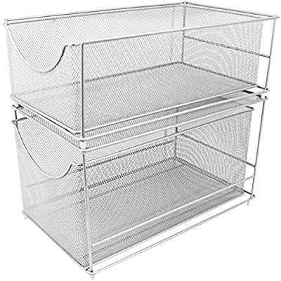 Sorbus Cabinet Organizer Drawers-Silver Mesh Storage Organizer with Pull Out Drawers-Ideal for Countertop, Cabinet, Pantry, Under the Sink, Desktop and More