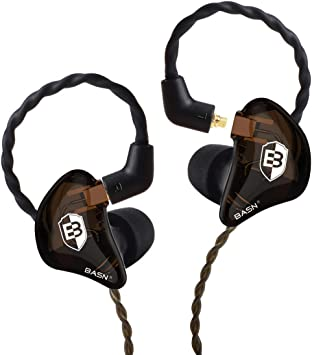 BASN In Ear Monitor Headphones for Musicians Dual-Driver Noise-Isolation Universal-Fit with Removable MMCX Audio Cable and Microphone Cable
