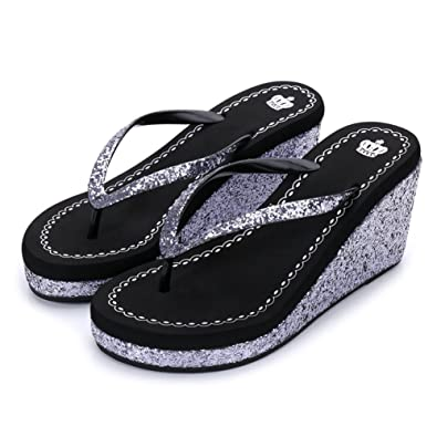 3b3a54caa Womens Ladies Wedge Platform Sparkle Glitter Sequins Diamond Flip Flops  High Heel Slip On Thongs Summer