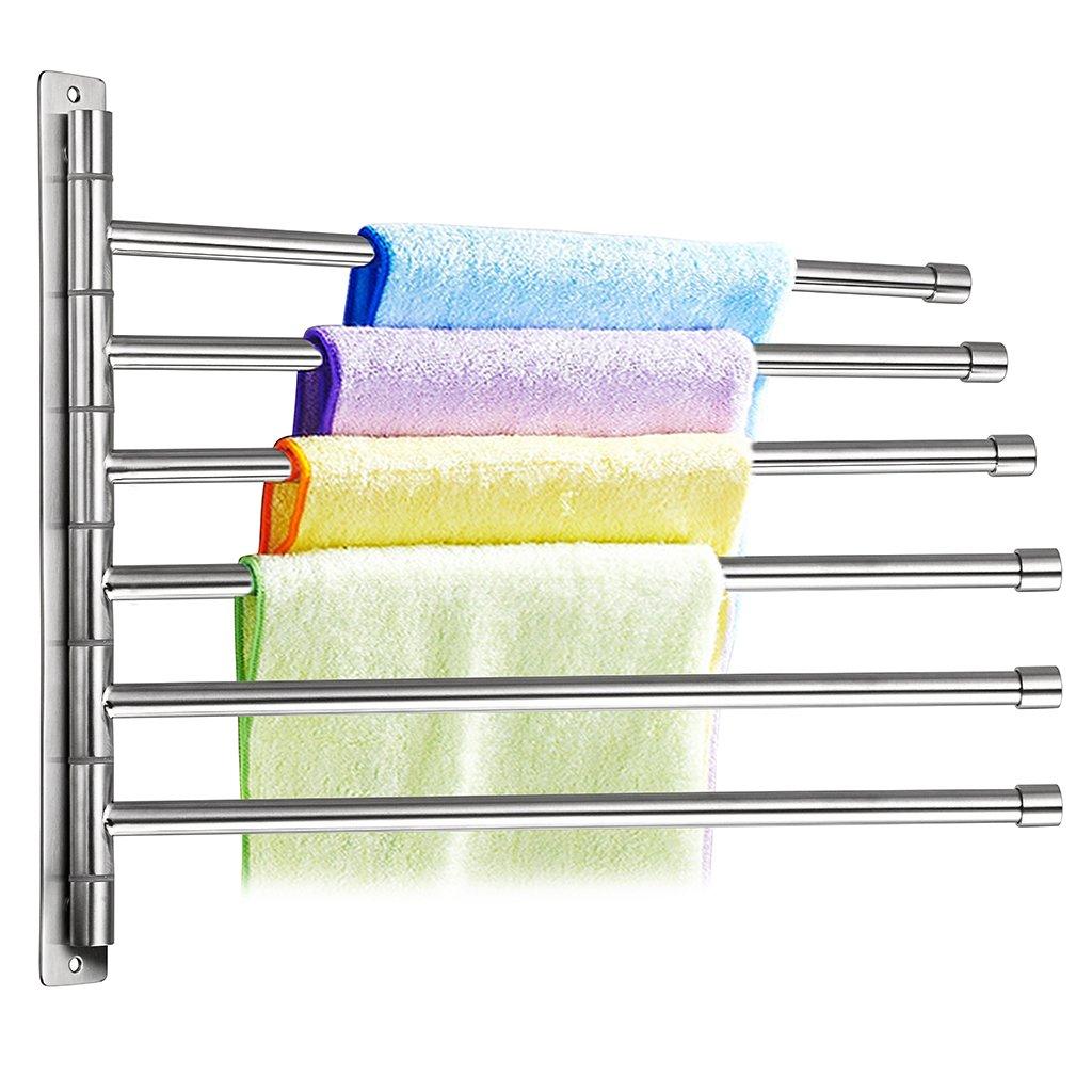 Sumnacon Wall Mounted Swing Towel Bar Silver Stainless Steel Bath Towel Rod Arm Folding Space Saver Towel Rail Bathroom//Kitchen Swivel Towel Rack Hanger Holder Organizer 2 Bar Black