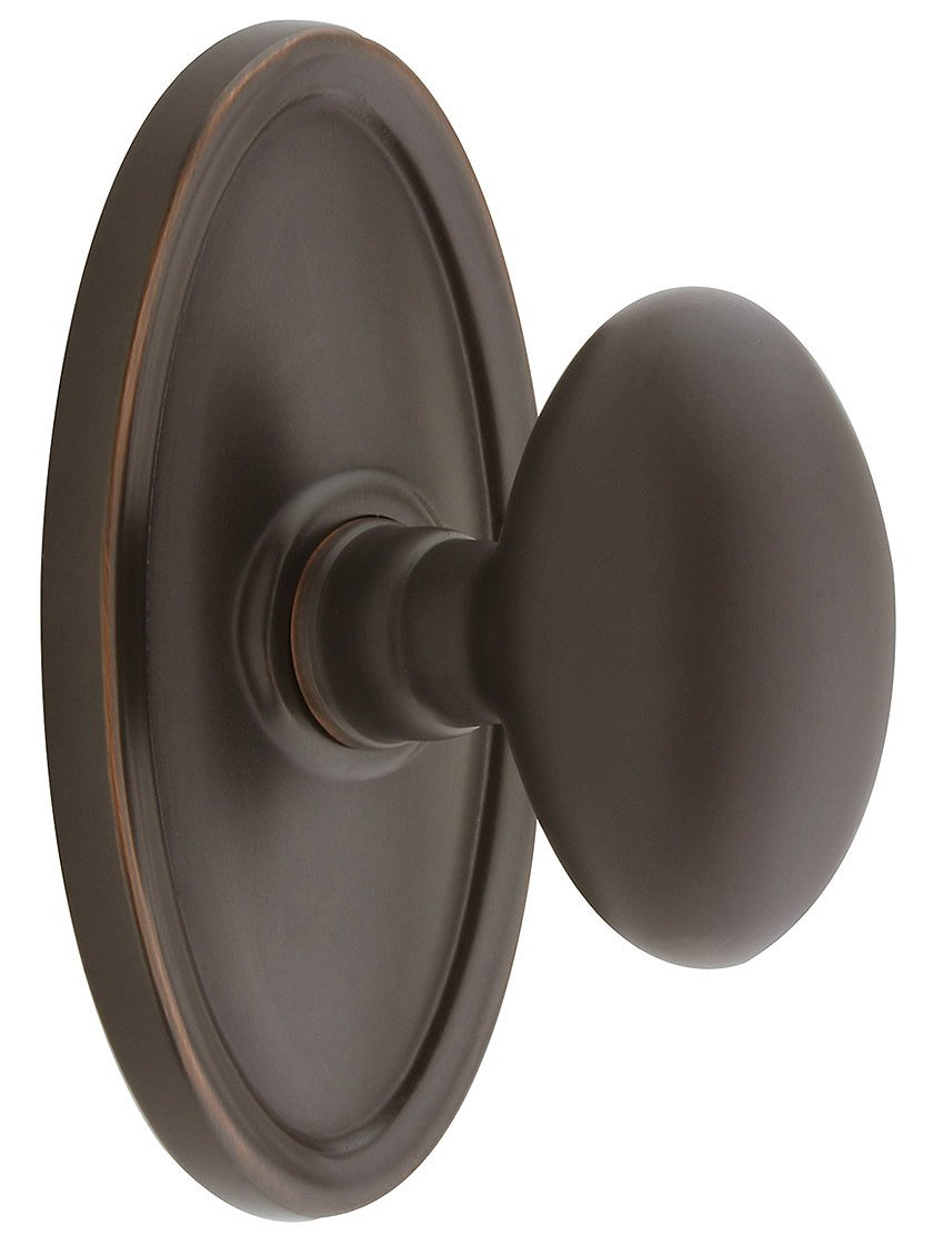 Oval Rosette Set With Elliptical Brass Knobs Privacy In Oil Rubbed Bronze. Doorsets.