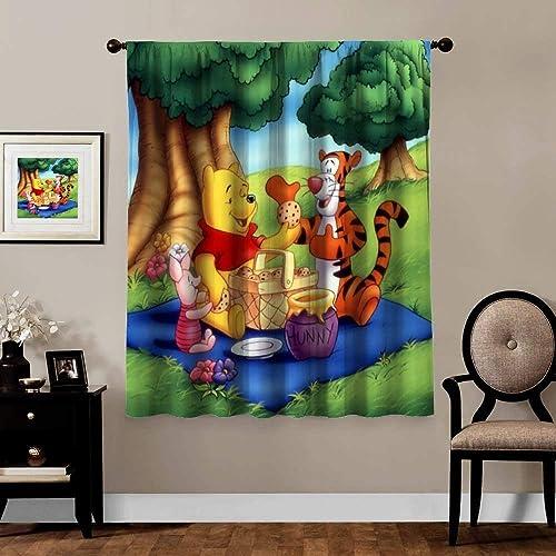 Victoria Anime Blackout Curtains,Piglet Tigger Winnie The Pooh